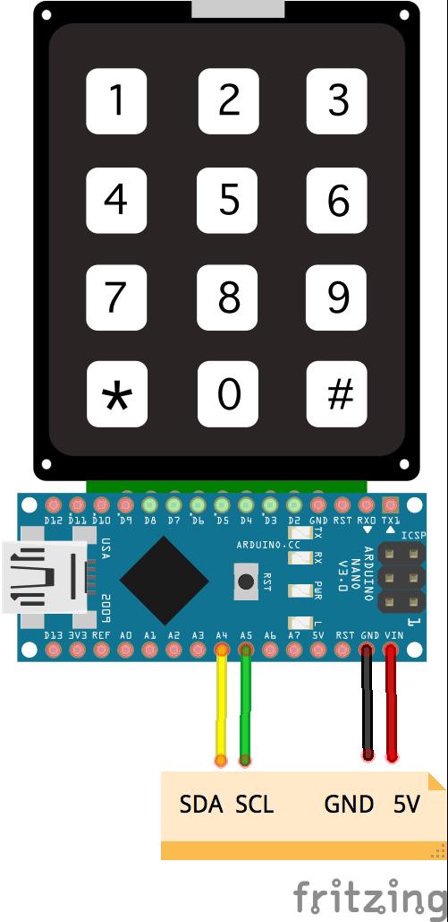 keypad 3X4 I2C NANO BACKPACK - johnny-five